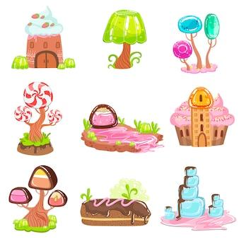 Elementos del paisaje de cuento de hadas hechos de dulces y pasteles