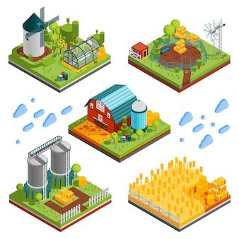 Elementos de paisaje de granja rural