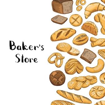 Elementos de panadería de colores dibujados a mano