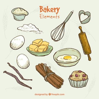 Elementos de panadería dibujados a mano y utensilios de cocina