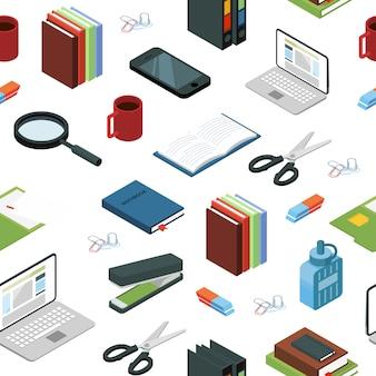 Elementos de papelería de oficina isométrica o ilustración de patrón