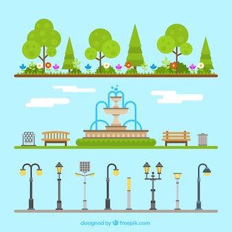 Elementos del parque al aire libre
