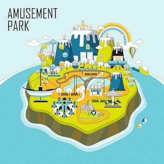 Elementos del parque de atracciones en una isla en estilo de línea