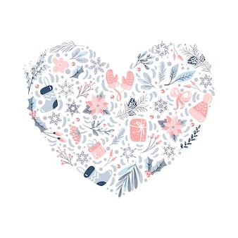Elementos de patrón de adornos navideños en forma de corazón