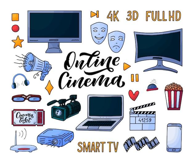 Elementos de la película en estilo doodle