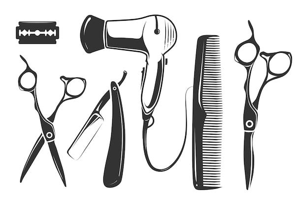 Elementos de peluquería para logotipo, etiquetas e insignias.