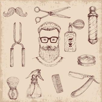 Elementos de peluquero dibujados a mano