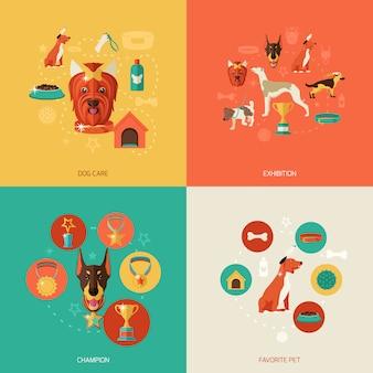 Elementos de perro composición plana