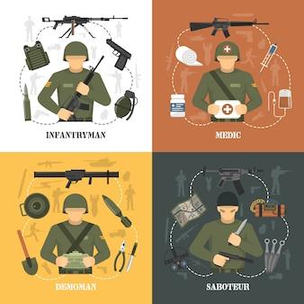 Elementos y personajes del ejército militar.