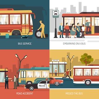 Elementos y personajes de la parada de autobús.