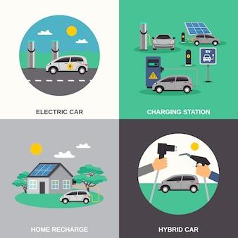 Elementos y personajes planos de coches eléctricos.