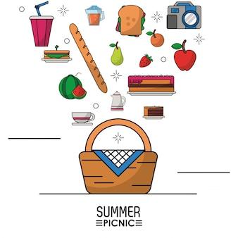 Elementos de picnic en la parte superior de la cesta