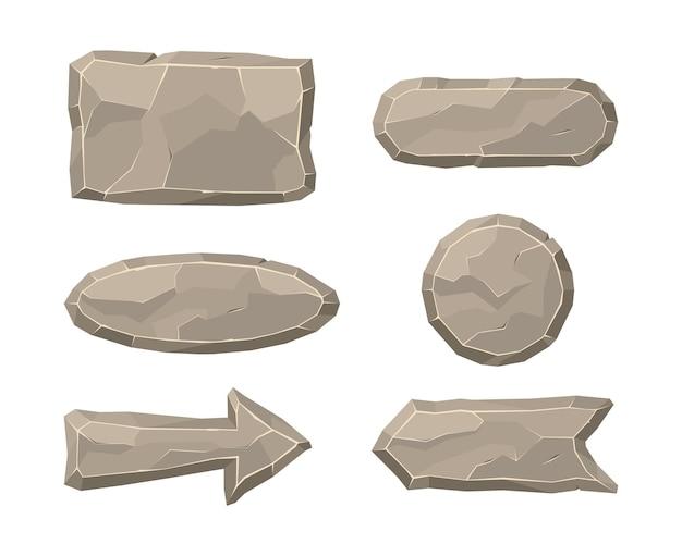 Elementos de piedra de la ilustración plana de la interfaz