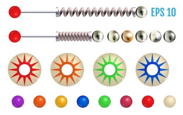 Elementos de pinball de colores realistas.