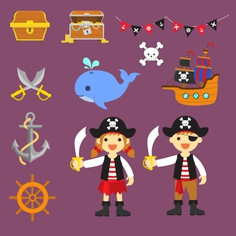 Elementos de piratas a color