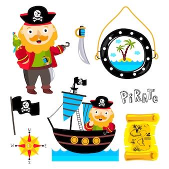 Elementos piratas divertidos aislados