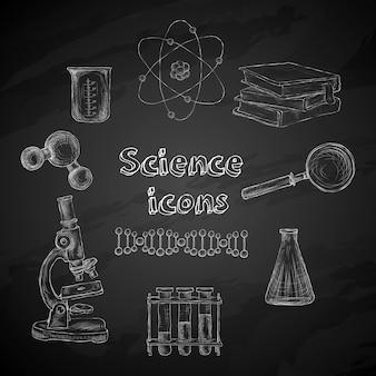 Elementos de pizarra de ciencia