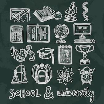 Elementos de pizarra de educación escolar