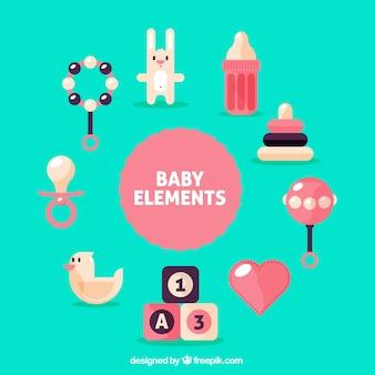 Elementos planos de bebé en colores pastel