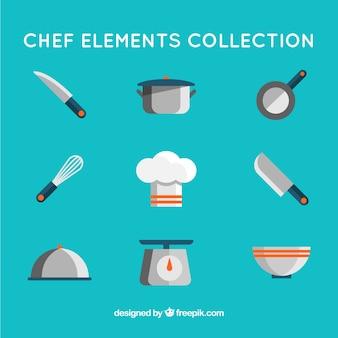 Elementos planos de cocina y gorro de chef