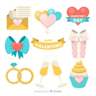 Elementos planos día de san valentín