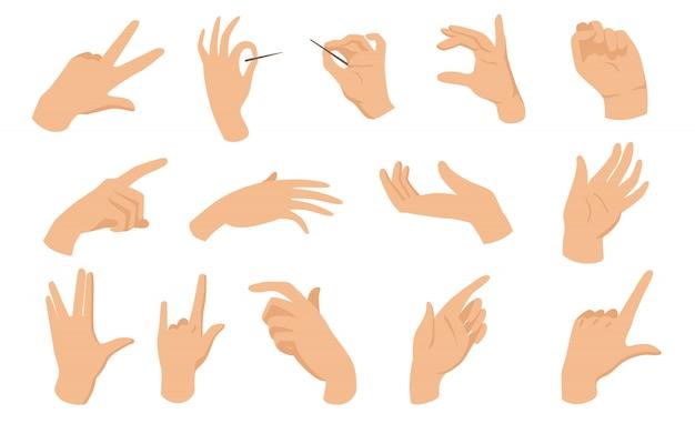 Elementos planos de gestos con las manos femeninas