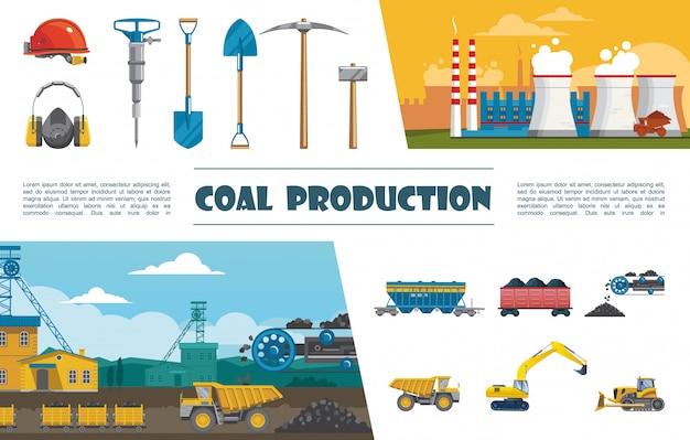 Elementos planos de la industria minera con casco, taladro, pico, pala, casco, vagón, transportador de carbón, con, carbón, excavadora, excavadora, planta industrial