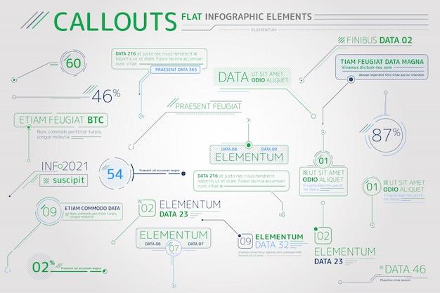 Elementos planos infográficos de rótulos