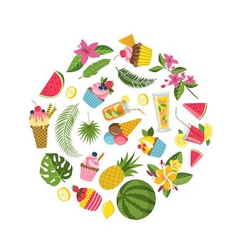 Elementos planos lindos de verano, cócteles, flamencos, hojas de palma
