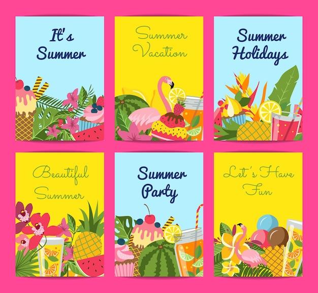 Elementos planos lindos de verano, cócteles, flamencos, juego de tarjetas de hojas de palma