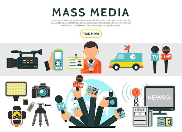 Elementos planos de los medios de comunicación con reportero, fotos, cámaras de video, noticias, micrófonos de automóviles, televisión, radio, torre