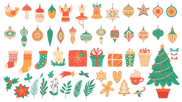 Elementos planos de navidad. árboles festivos con juguetes y guirnaldas, pan de jengibre, calcetines de navidad y caja de regalo colorida decoración de vector de año nuevo. plantas rama de árbol de abeto de baya de acebo. bastón de caramelo, chocolate caliente
