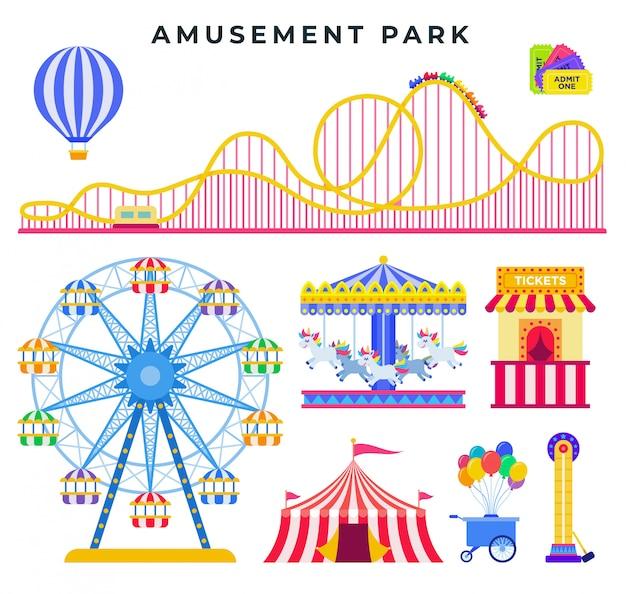 Elementos planos del parque de atracciones, aislados. todo para el descanso familiar en el parque.