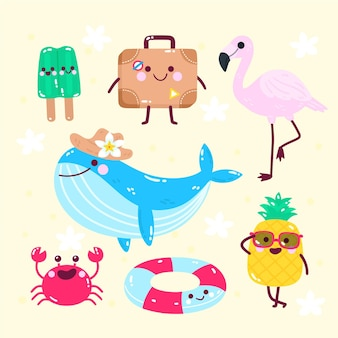 Elementos planos de playa de verano