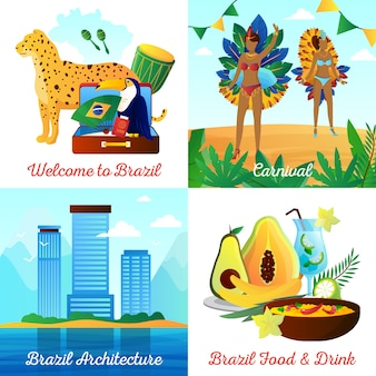 Los elementos planos de los viajes culturales de brasil y la composición cuadrada de los caracteres con las bebidas de los alimentos de los puntos de referencia y los símbolos nacionales aislaron el ejemplo del vector