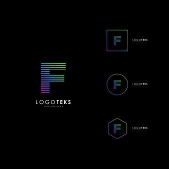 Elementos de plantilla de diseño de icono de letra f logo