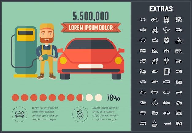 Elementos y plantilla de infografía de transporte