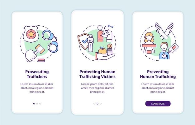 Elementos de la política contra la trata de personas que incorporan la pantalla de la página de la aplicación móvil