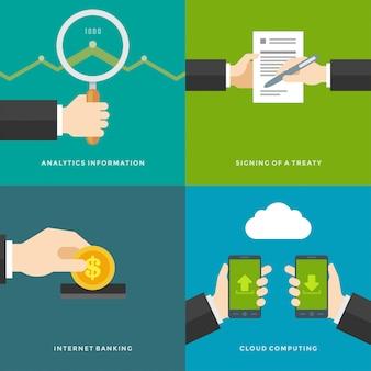 Elementos de promoción del sitio web. firma de un tratado, información analítica, banca por internet, computación en la nube. conjunto de ilustraciones vectoriales.