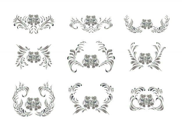 Elementos reales con flores de plata.