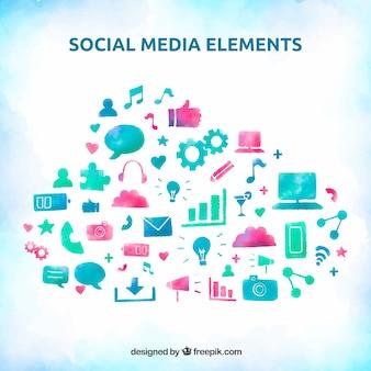 Elementos de redes sociales en acuarela dentro de una nube
