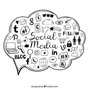 Elementos de redes sociales dibujados a mano dentro de una nube