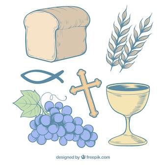 Elementos religiosos dibujados a mano