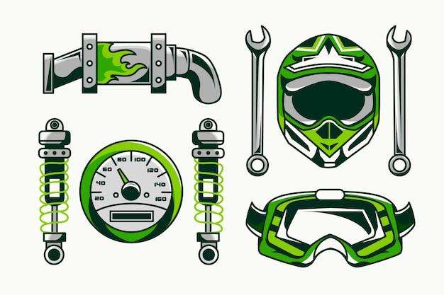 Elementos retro de motocross