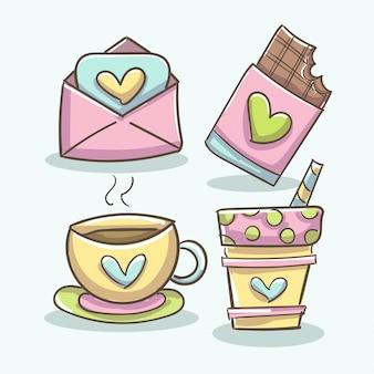 Elementos románticos con café, tableta de chocolate, taza y sobre