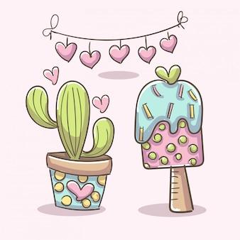 Elementos románticos con helado y planta de cactus