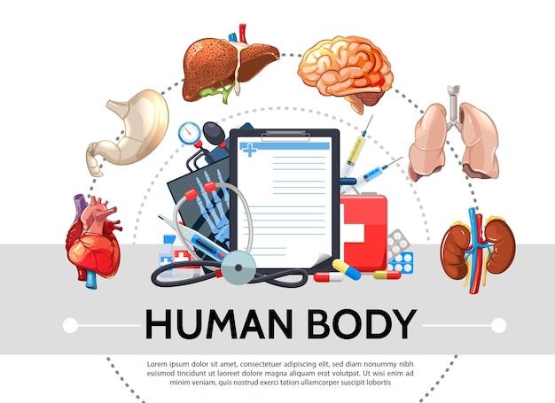 Elementos de salud de dibujos animados concepto redondo con órganos internos humanos pastillas portapapeles kit médico tonómetro estetoscopio