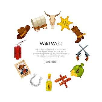 Elementos del salvaje oeste de dibujos animados en forma de círculo