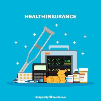 Elementos del seguro de salud con diseño plano