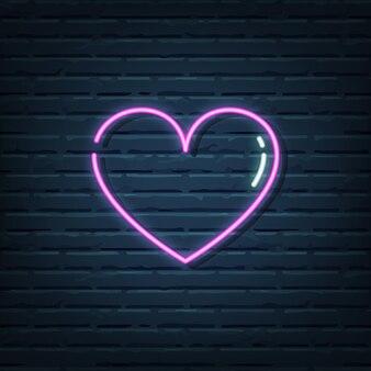 Elementos de la señal de neón del corazón